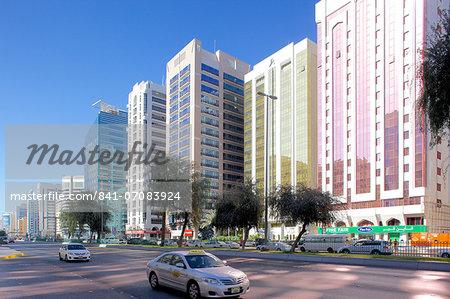 City skyline and Rashid Bin Saeed Al Maktoum Street, Abu Dhabi, United Arab Emirates, Middle East