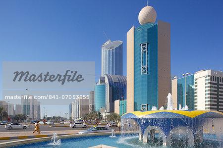 Contemporary architecture on Rashid Bin Saeed Al Maktoum Street, Abu Dhabi, United Arab Emirates, Middle East