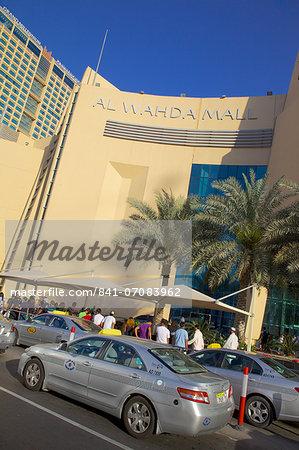 Al Wahda Mall and taxis, Abu Dhabi, United Arab Emirates, Middle East