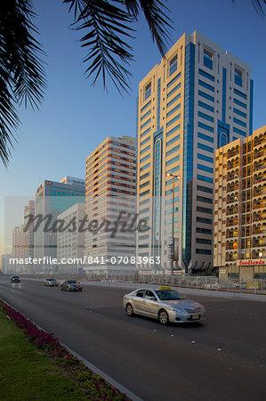 City skyline on Rashid Bin Saeed Al Maktoum Street, Abu Dhabi, United Arab Emirates, Middle East