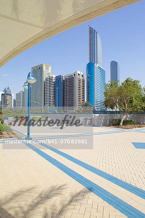 Contemporary architecture along the Corniche, Abu Dhabi, United Arab Emirates, Middle East