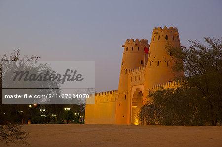 Al Jahili Fort at dusk, Al Jahili Park, Al Ain, Abu Dhabi, United Arab Emirates, Middle East