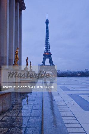 The Eiffel Tower under rain clouds, Paris, France, Europe