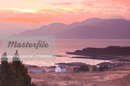 The Sound of Sleat during sunrise from the Isle of Skye, Inner Hebrides, Scotland, United Kingdom, Europe