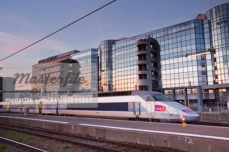 A high speed TGV train waiting in the Gare de Tours, Tours, Indre-et-Loire, France, Europe
