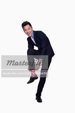 Businessman with Red Polka Dot Socks