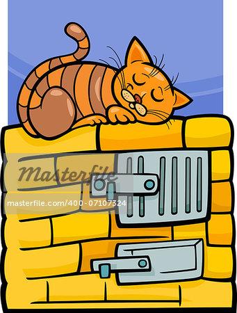 Cartoon Illustration of Tabby Cat Sleeping on Stove