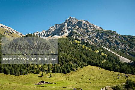Mountain range and open pasture, Kleinwalsertal, Vorarlberg, Austria