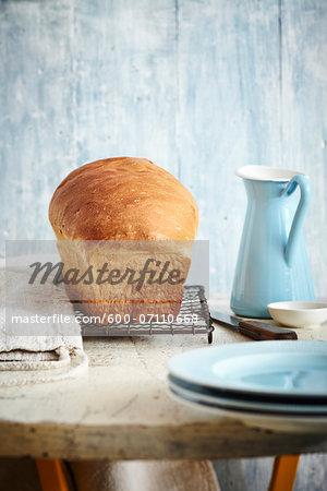 Loaf of Bread on Cooling Rack, Studio Shot