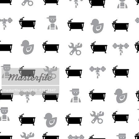 Black Bathroom Seamless Pattern, eps vector illustration