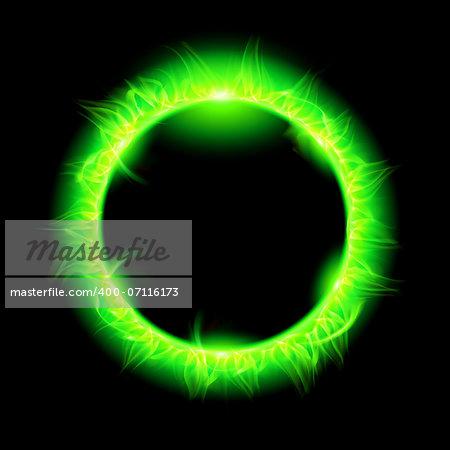 Blazing solar corona in green. Illustration on black background.