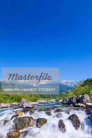 Matsu river and Hakuba mountain range, Nagano Prefecture