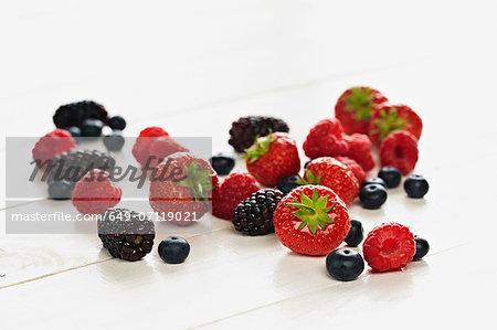 Strawberries, raspberries, blackberries and blueberries still life