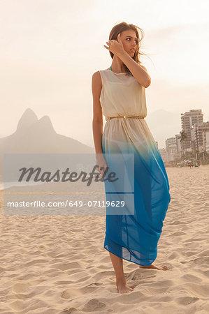 Portrait of young woman on Ipanema Beach, Rio de Janeiro, Brazil