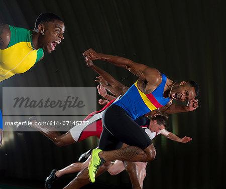 Athletes finishing race