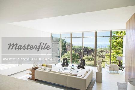 Modern living room overlooking trees