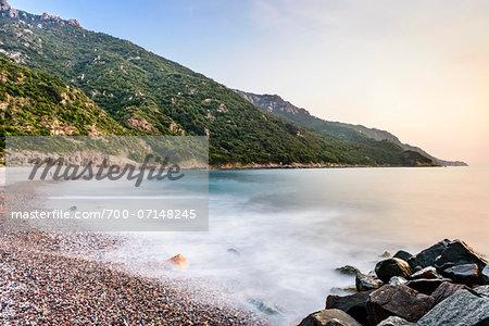 Scenic view of beach and coastline, Gulf of Porto, Corsica, France