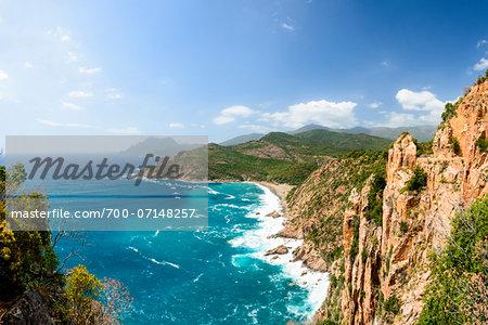 Scenic view of mountains, Scandola Nature Reserve (a Unesco World Heritage Site) between Calvi, Porto and Galeria, Corsica, France