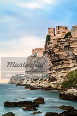 Scenic view of the rocky coastline, Citadel and cliffs, Bonifacio, Corsica, France