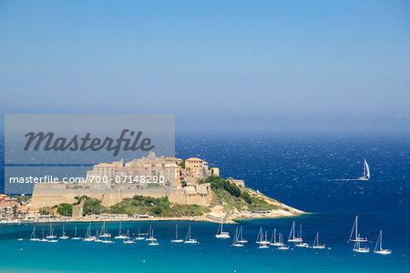 Scenic view of Calvi, the Citadel and Fortress, Balagne, Gulf of Calvi, Corsica, France