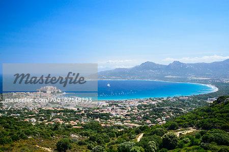 Scenic view of Calvi, the Citadel and Fortress from the Chapelle de Notre Dame de la Serra, Balagne, Gulf of Calvi, Corsica, France