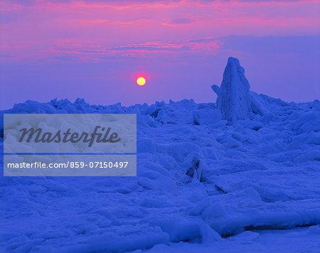 Drift Ice And Sunrise, Hokkaido, Japan