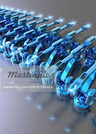 Robotic assembly line, computer artwork.