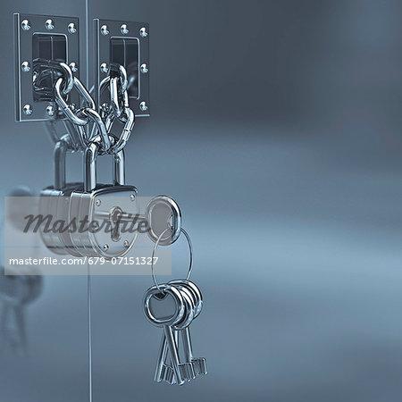 Padlock and keys, computer artwork.