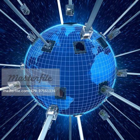 Global connectivity, computer artwork.