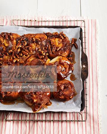Sticky Buns on baking tray, studio shot