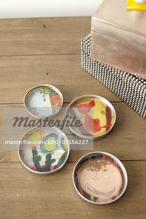 Children's crafts, Handmade Dishes on table, studio shot