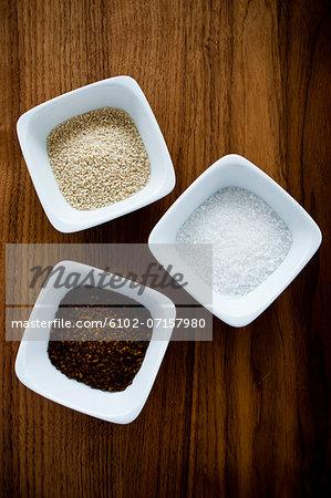 Studio shot of bowls of spice