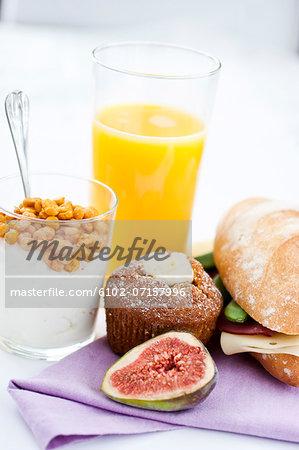 Studio shot of healthy components of breakfast