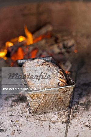 Freshly baked bread in oven