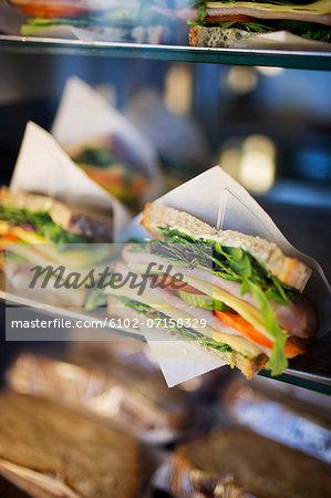 Sandwich on display in cafe, Stockholm, Sweden