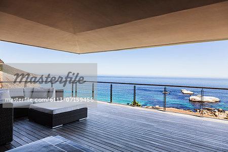 Luxury balcony overlooking ocean