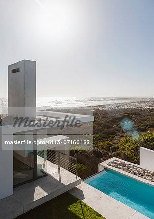 Modern house and lap pool overlooking ocean