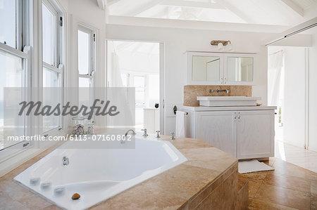 Jacuzzi tub in luxury bathroom