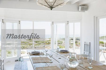 Dining room overlooking ocean