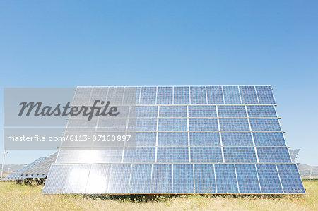 Solar panel in rural landscape