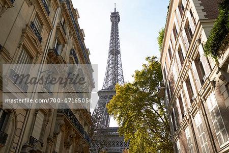 Eiffel Tower framed by buildings, Paris, France