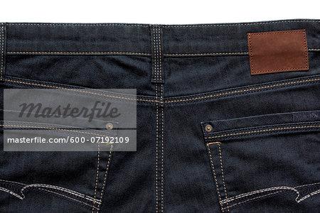 Close-up, backview of blue jeans, studio shot