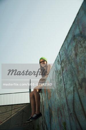 Teenage Girl in Skatepark, Feudenheim, Mannheim, Baden-Wurttemberg, Germany