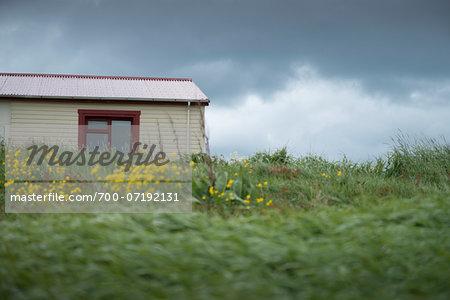 Small House with Red Roof and Window, Arnarstapi, Snaefellsnes Peninsula, Borgarfjorour, Iceland