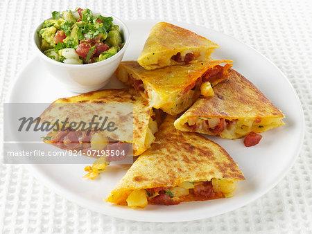 Chorizo and potato quesadillas