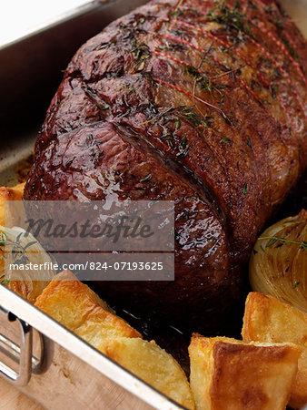 Beef silverside in a roasting tin