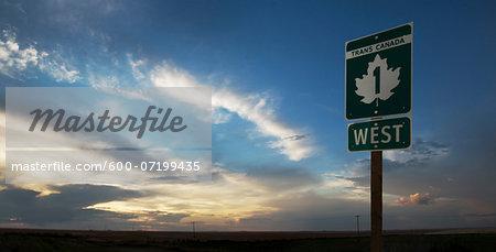 Trans Canada Highway Sign near Swift Current, Alberta, Canada