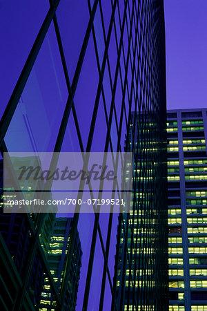 Looking Up at Office Towers and Sky at Dusk Calgary, Alberta, Canada