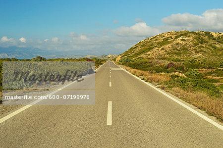 Coastal road, near Apolakkia, Rhodes, Dodecanese, Aegean Sea, Greece, Europe