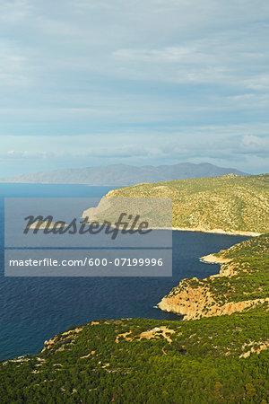 Coast at Monolithos and Aegean Sea, Rhodes, Dodecanese, Aegean Sea, Greece, Europe